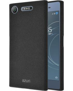 Azuri flexible cover with sand texture - zwart - Sony Xperia XZ1